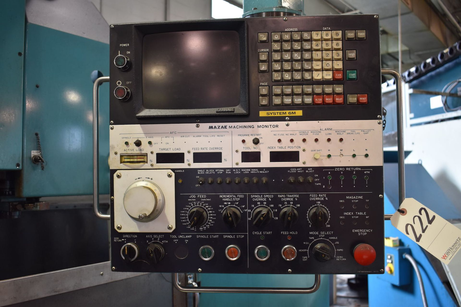 Lot 222 - Mazak Model Twin Center V-10TS Twin-Spindle CNC Vertical Machining Center, S/N 60972 (1985), Fanuc