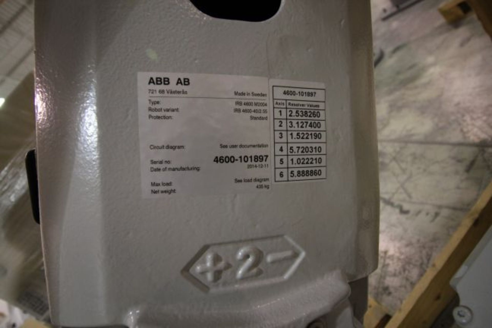 (NEW) ABB ROBOT IRB 4600 2.55/40KG WITH IRC5 CONTROLS, YEAR 2014, SN 101897 TEACH PENDANT& CABLES - Image 10 of 11