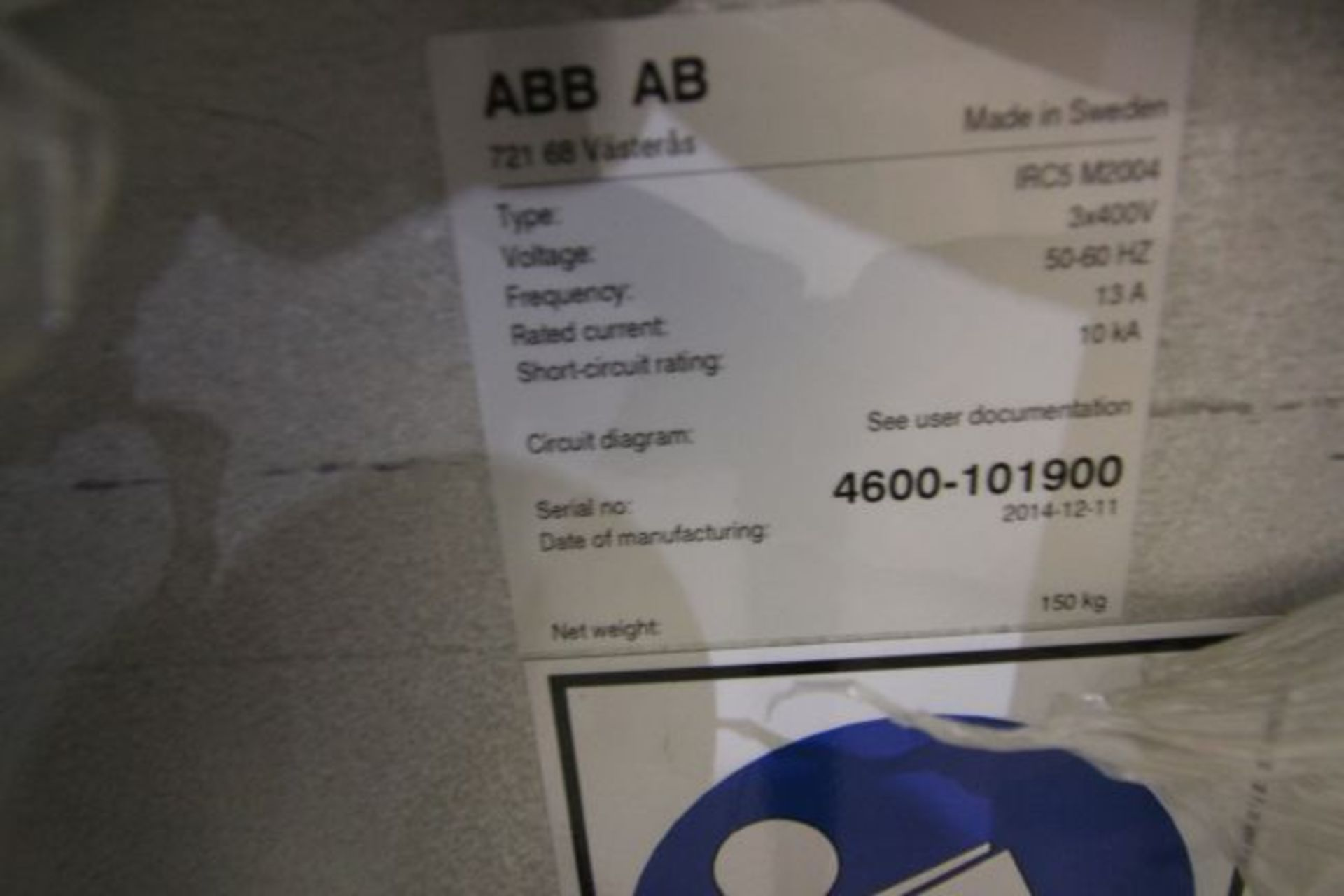 (NEW) ABB ROBOT IRB 4600 2.55/40KG WITH IRC5 CONTROLS, YEAR 2014, SN 101900 TEACH PENDANT& CABLES - Image 9 of 9