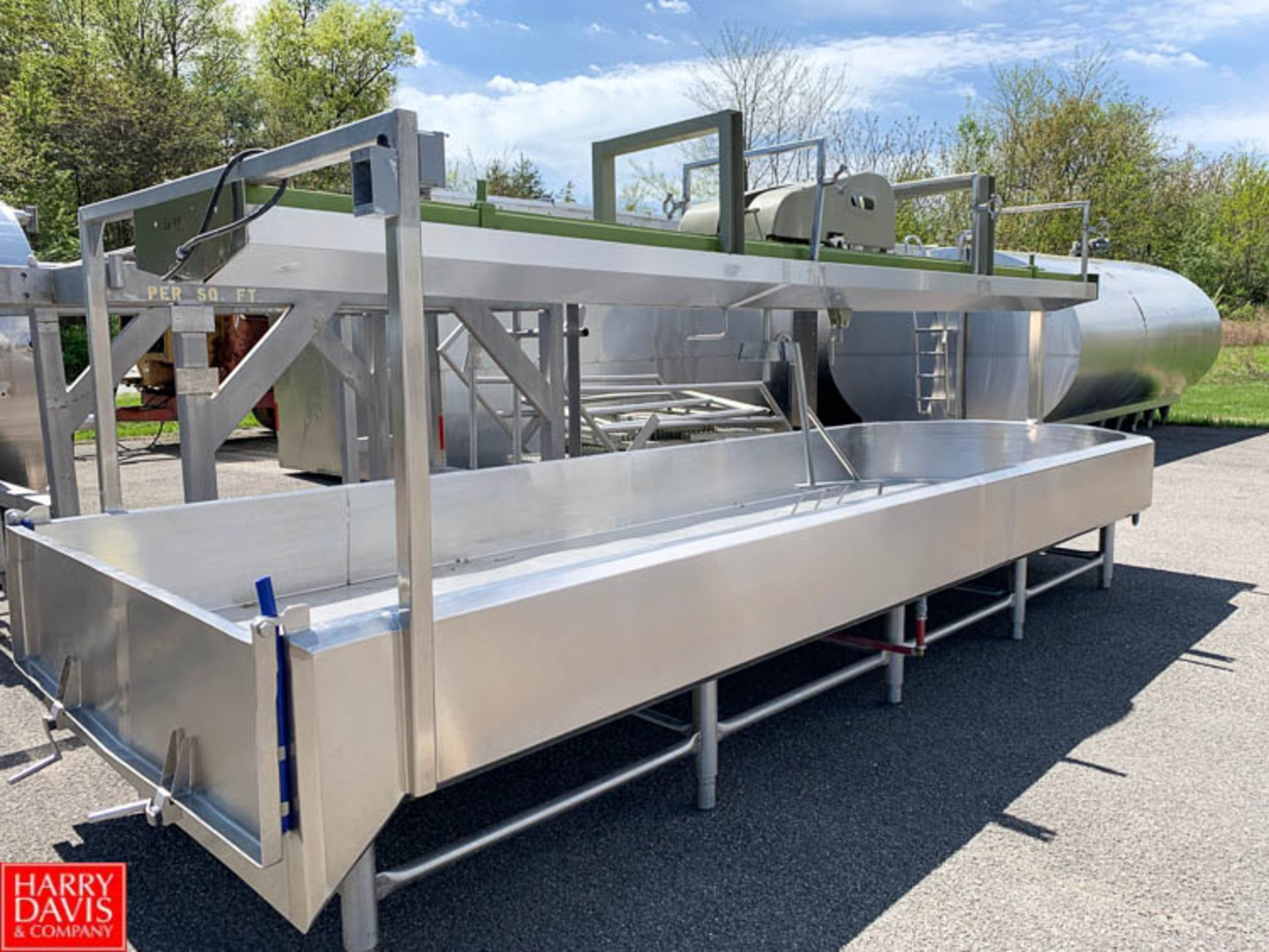 "Lot 44 - 12,000 LB Capacity S/S Jacketed Finishing Table with Round Ends and End Dump Door, 64"" x 17'"