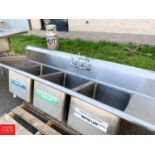 Lot 57 - Elkay S/S Triple Bowl Sink with Rounded Edges and Back Splash - Rigging Fee: $10