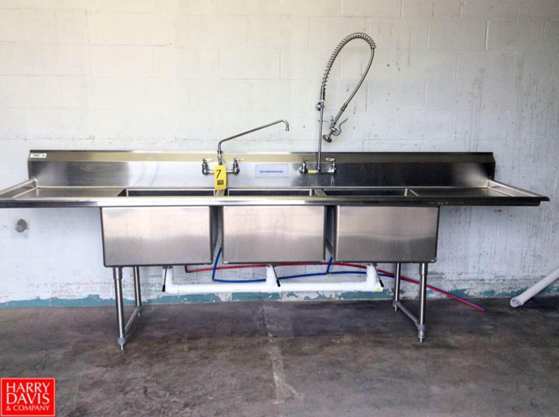 Lot 7 - Regency S/S Triple Bowl Sink with Back Splash, Rounded Edges, Valves and Spray Head, Model