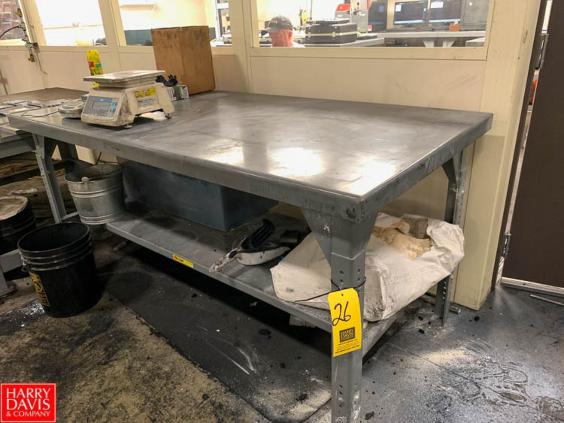"""Lot 26 - Little Giant 36"""" x 72"""" Steel Work Table with Under Shelf Rigging Fee: 50"""