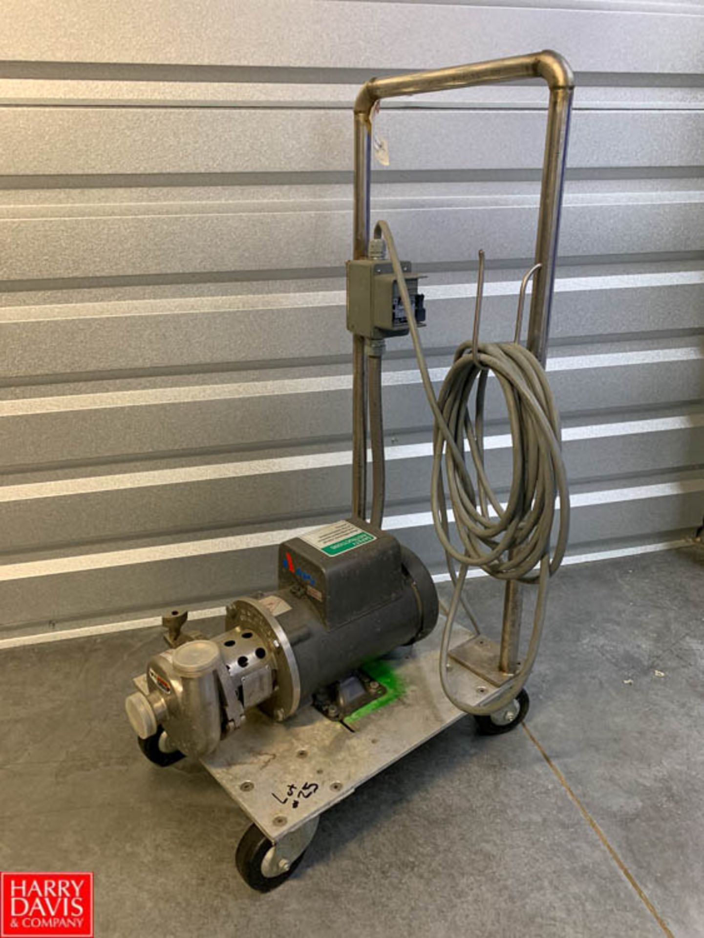 Lot 25 - APV Centrifugal Pump Model MO4BP831769N4V2 with 0.75 HP Baldor 1,725 RPM Motor, Mounted on S/S