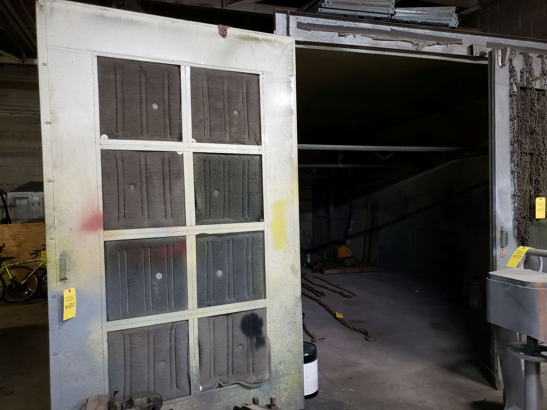 Lot 480 - BINKS PAINT BOOTH 26'x14', double door and man door entry, side and top lights, filter system