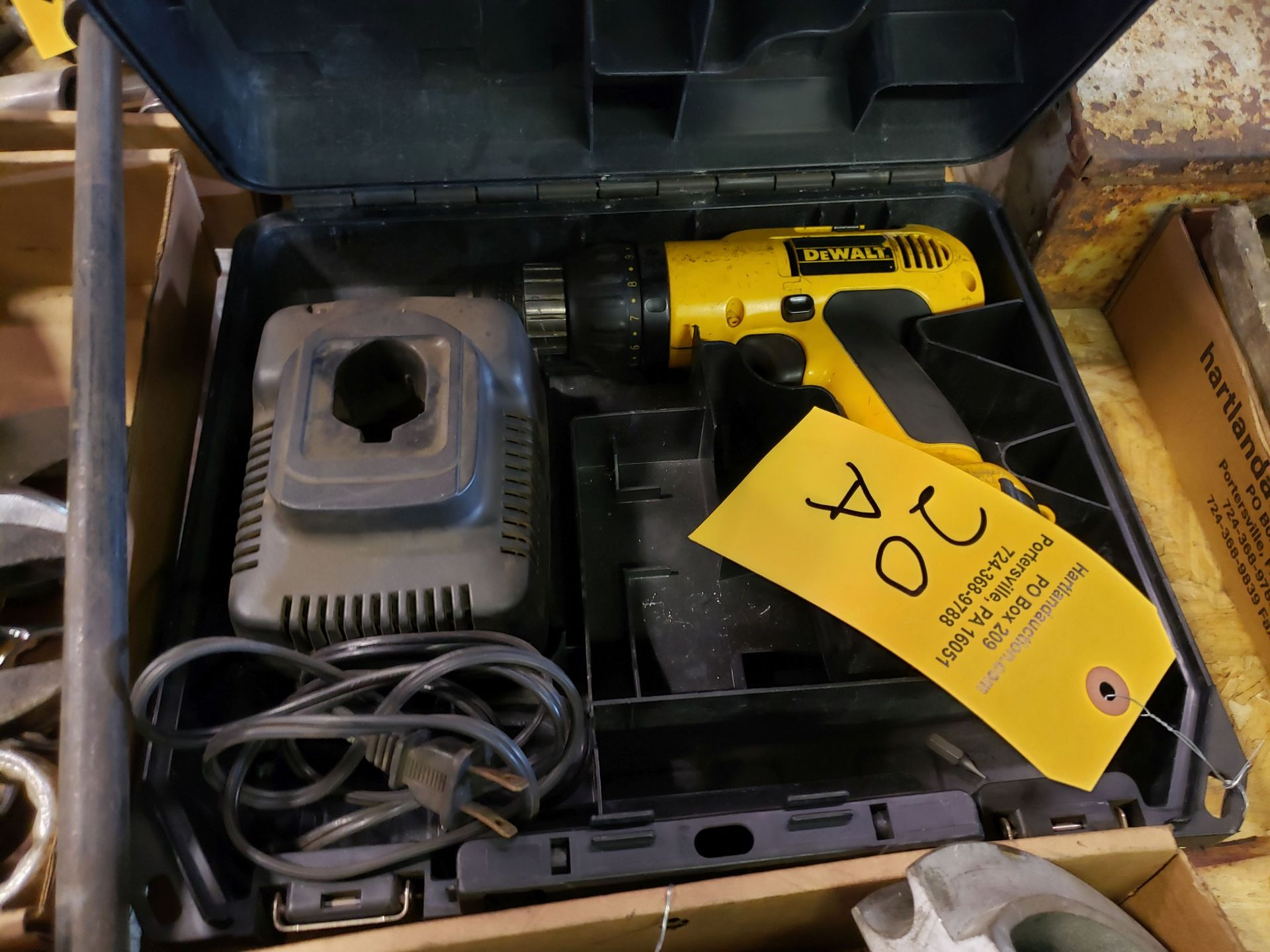 Lot 20a - DEWALT CORDLESS DRILL WITH CHARGER IN CASE