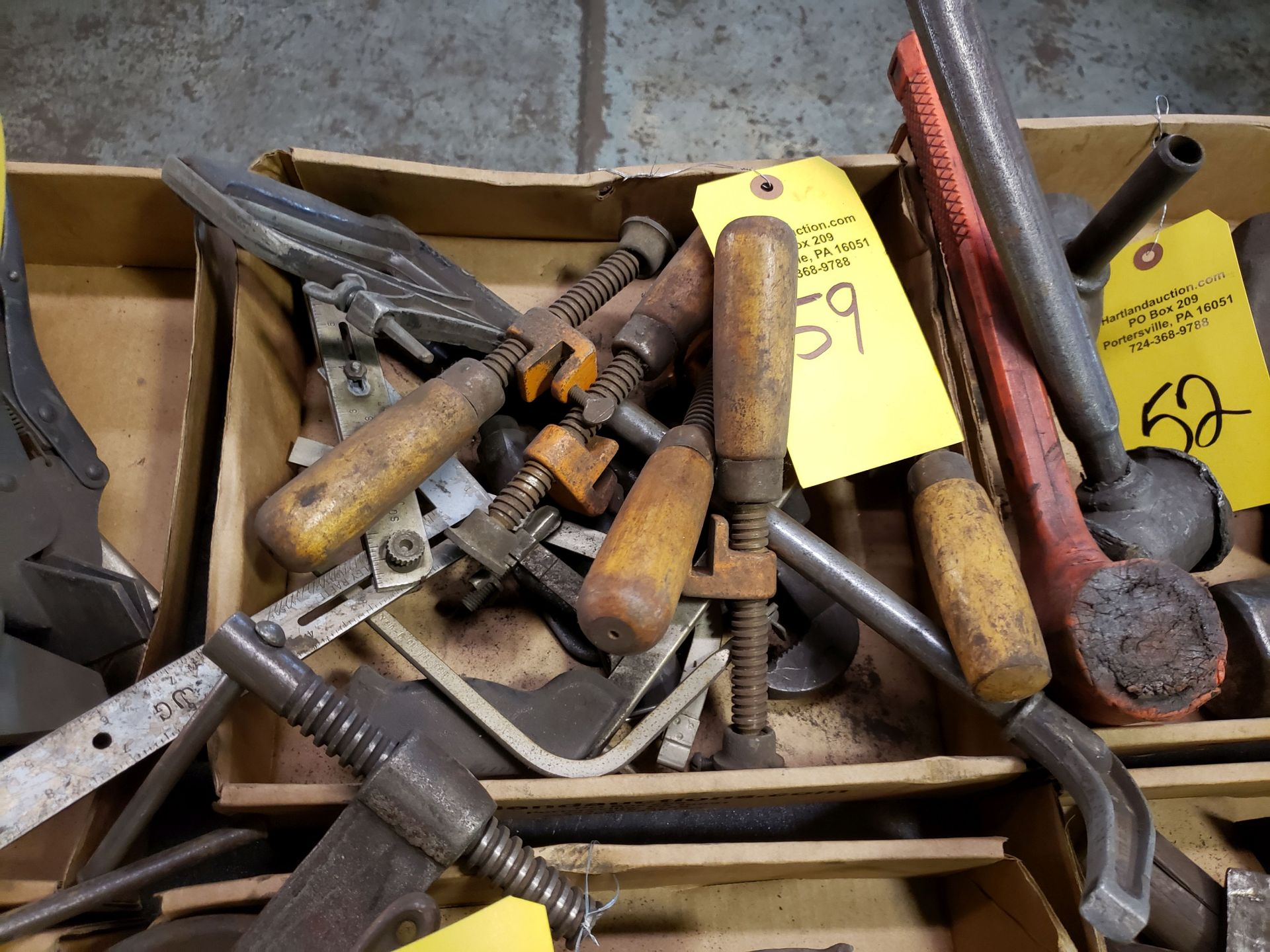 Lot 59 - ASSORTED CLAMPS & MISC TOOLS
