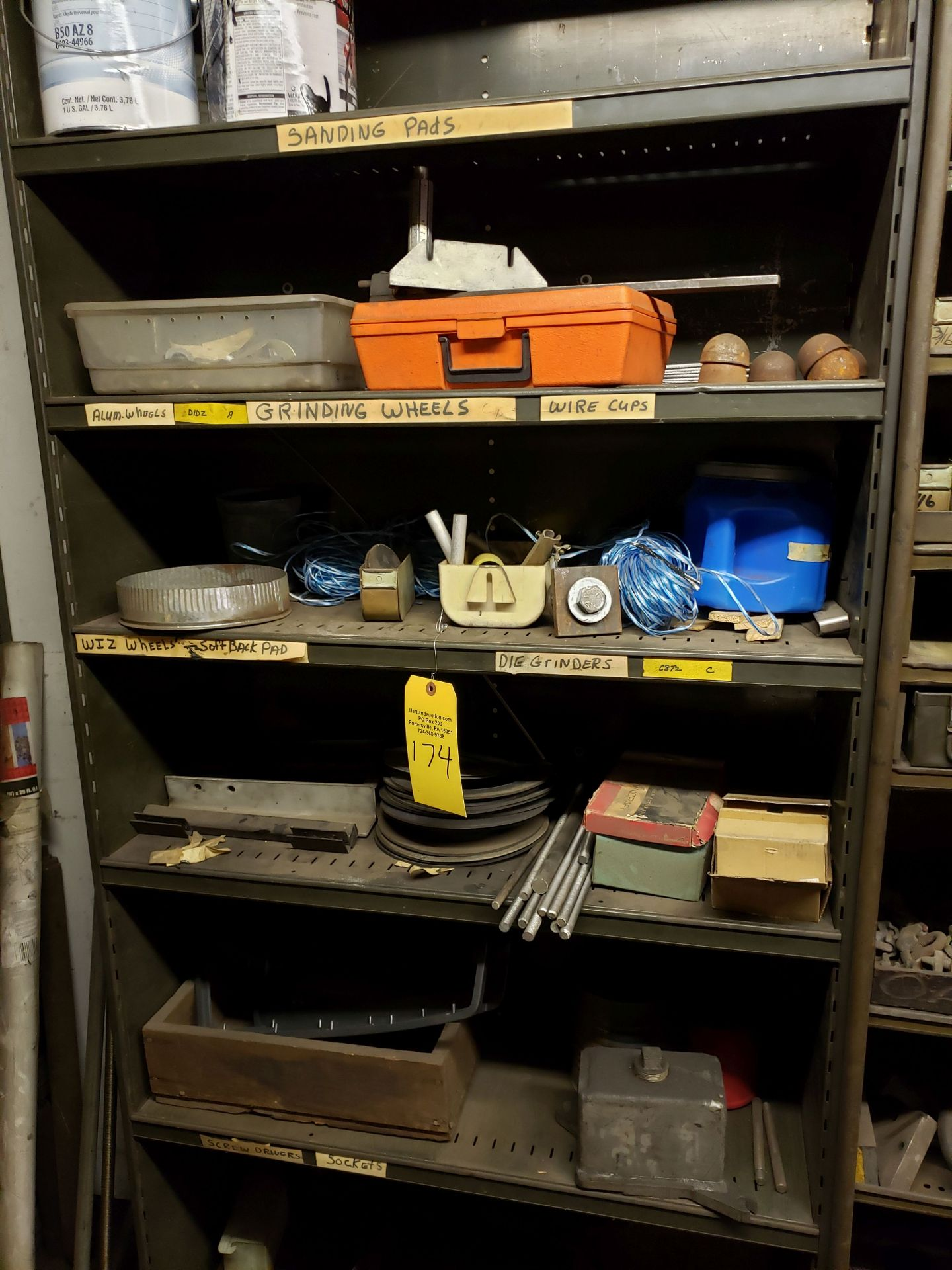 Lot 174 - BALANCE OF CONTENTS OF MAINTENANCE ROOM 9 SHELVES & CONTENTS - FASTENERS, ELECTRICAL, FITTINGS,
