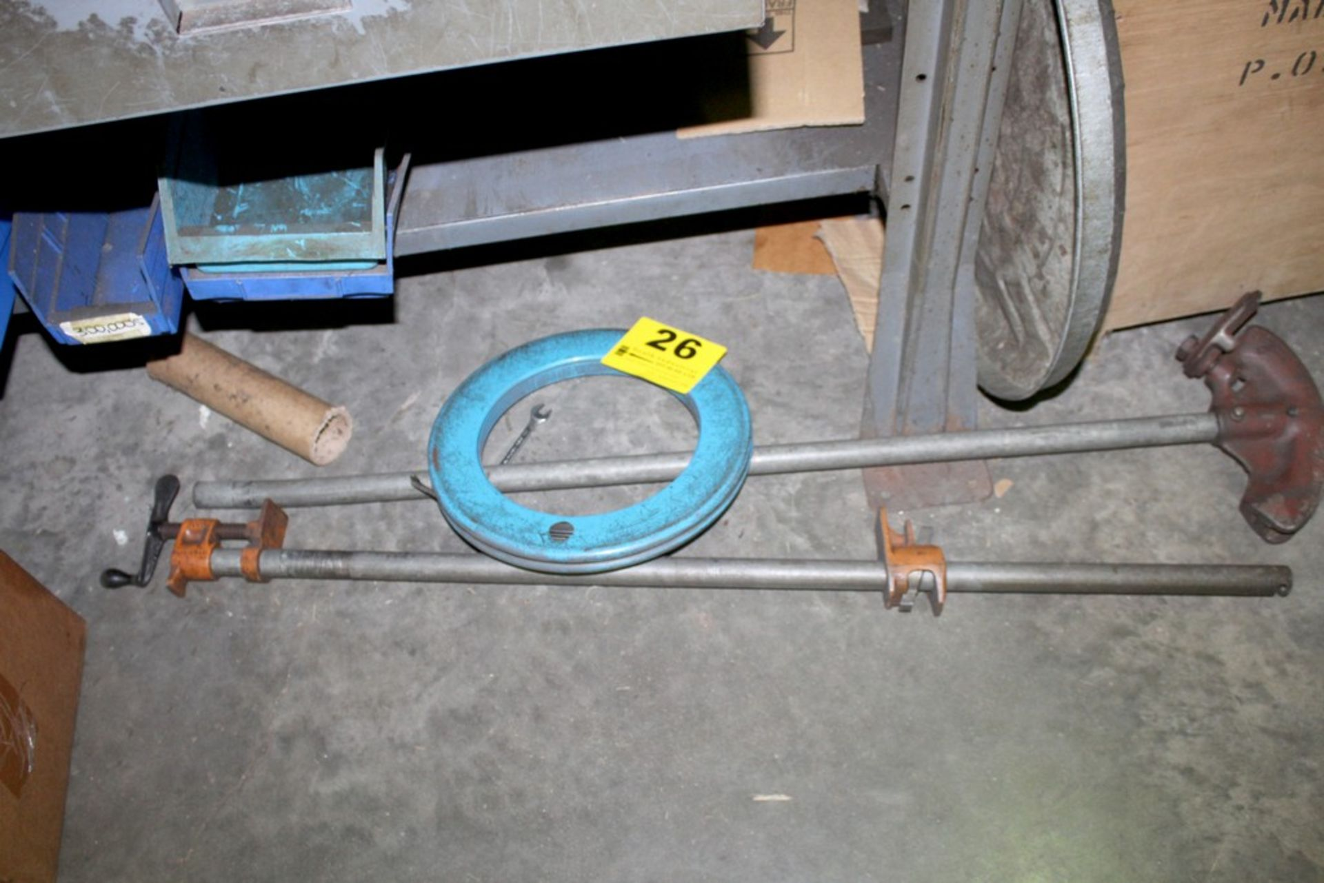 Lot 26 - PIPE BENDER, BAR CLAMP, AND STEEL FISH TAPE