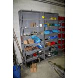 SECTIONS OF ADJUSTABLE STEEL SHELVING WITH CONTENTS