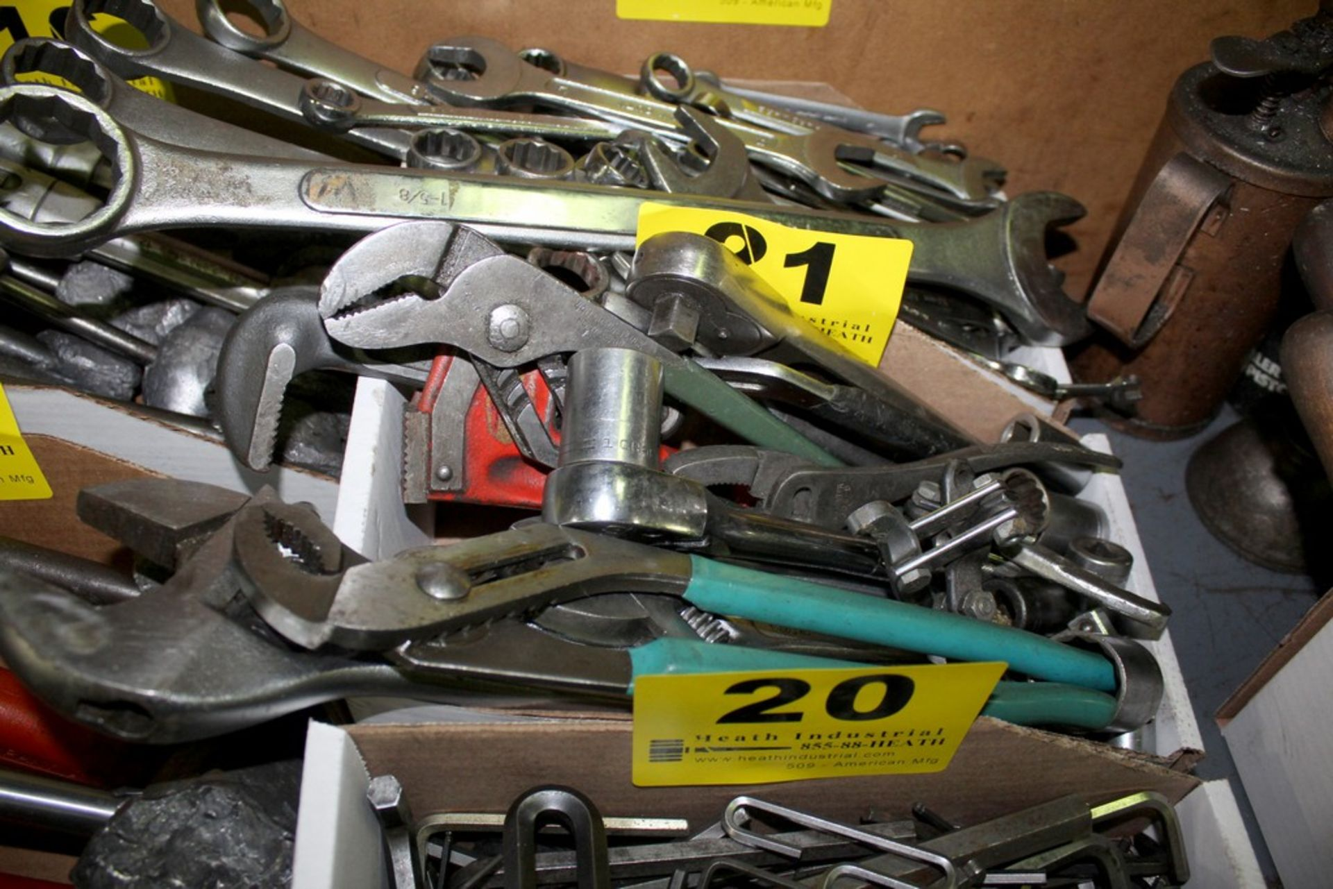 Lot 21 - ASSORTED CRESCENT, PIPE, AND SOCKET WRENCHES IN BOX