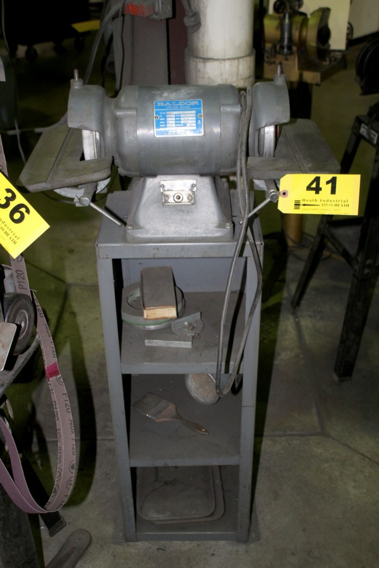 Lot 41 - BALDOR 1/2 HP DOUBLE END CARBIDE GRINDER S/N A559-343 ON STEEL STAND