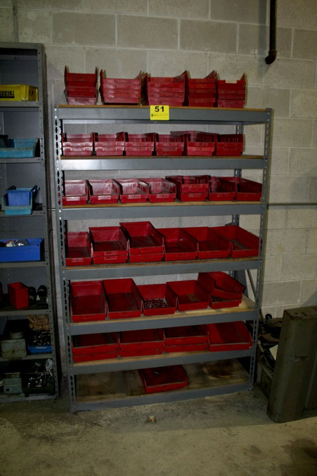 "Lot 51 - 48"" X 19"" X 72"" ADJUSTABLE STEEL SHELVING WITH BINS"