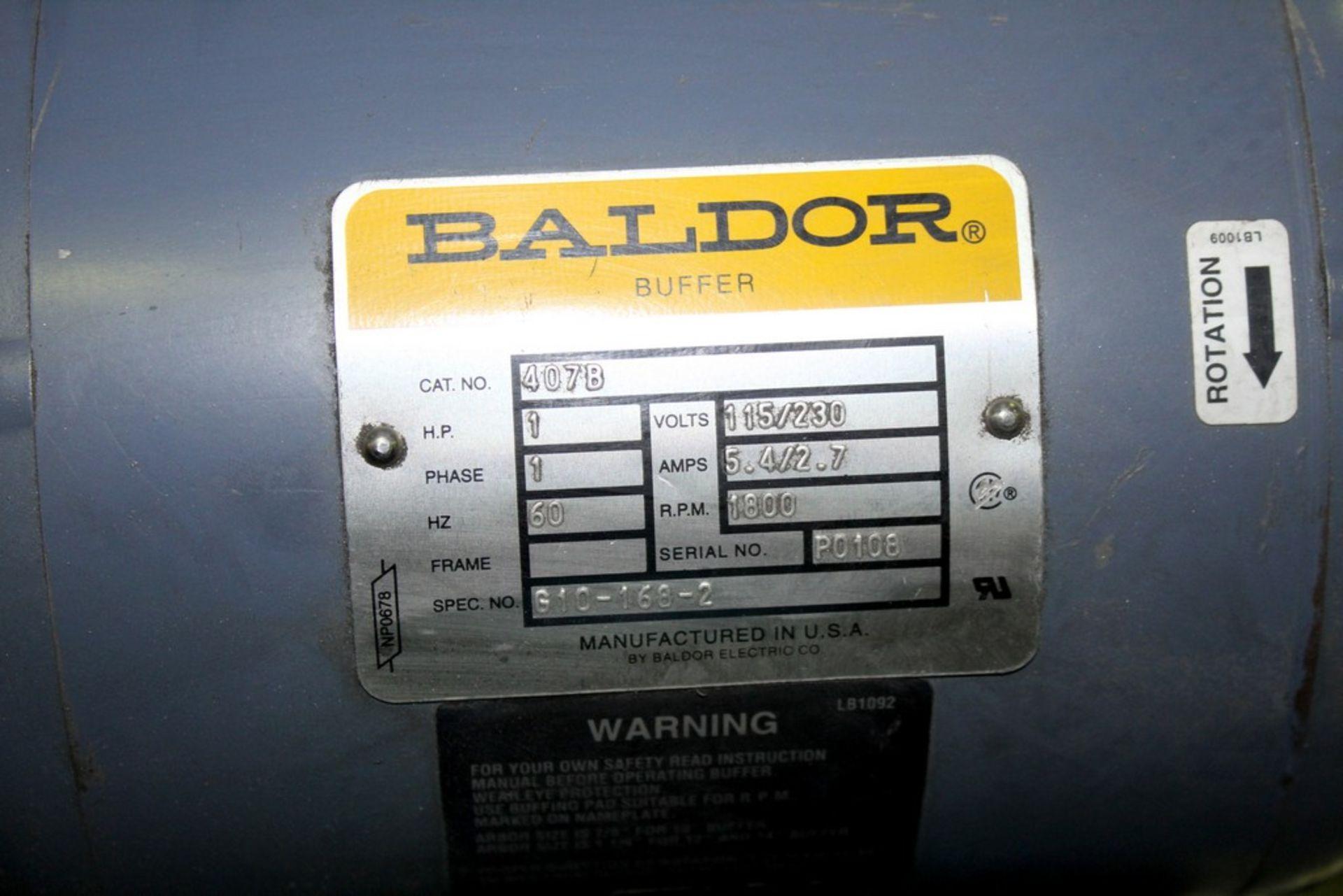 Lot 37 - BALDOR 1HP DOUBLE END PEDESTAL BUFFER/GRINDER