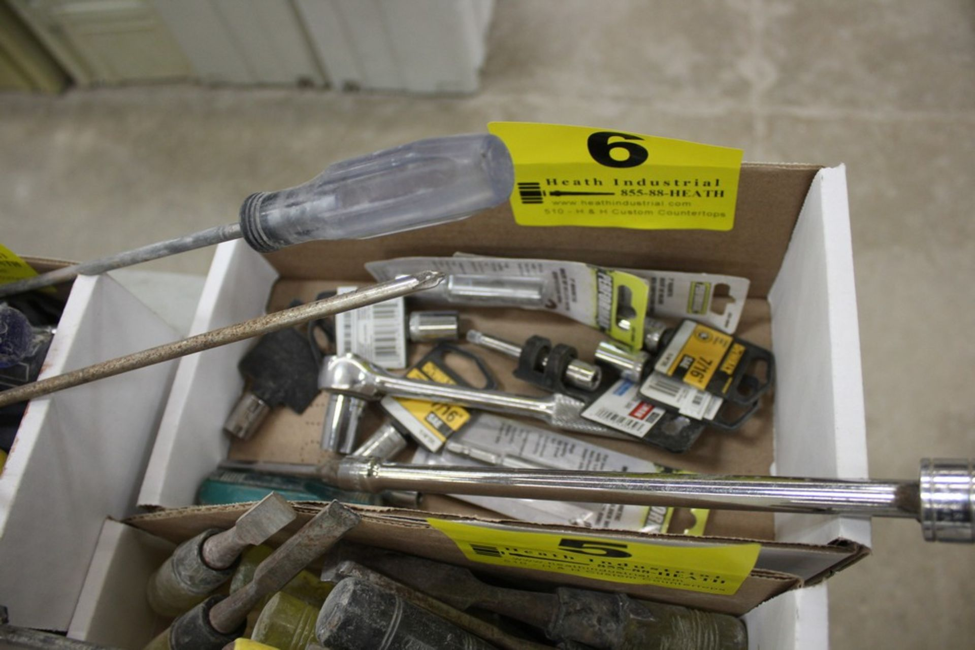 Lot 6 - ASSORTED RATCHETS, EXTENSIONS. AND SOCKETS IN BOX