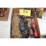 Wood drill bits, engraver, cordless driver.