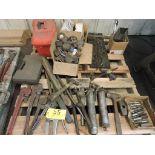 Pallet pipe wrenches, hammers, tap n die, flap sanders.