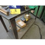 """Steel work table on casters, 56"""" x 21"""" x 36""""."""