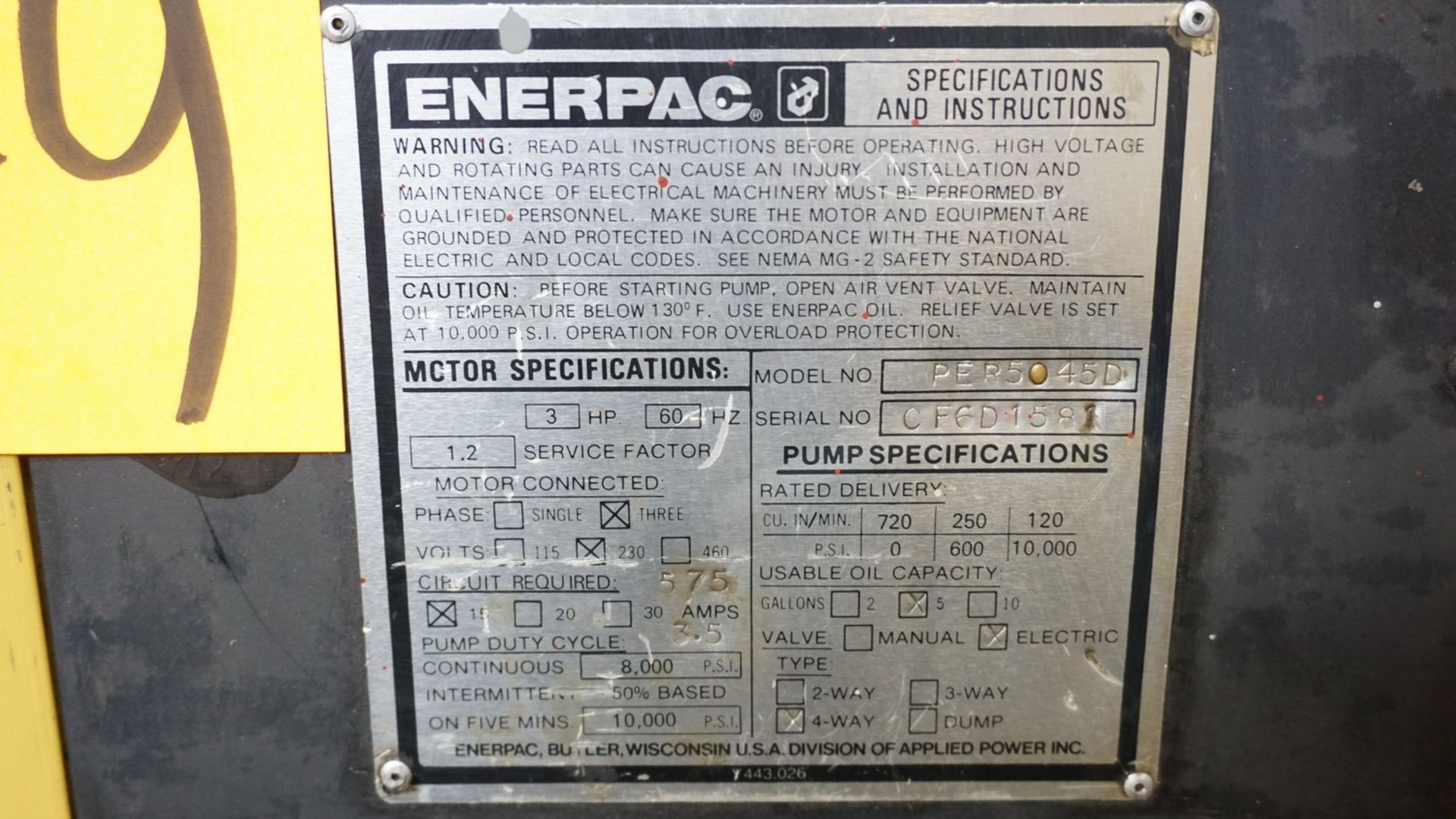 Lot 49 - Enerpac Model PER5045D 575V Hydraulic Power Pack