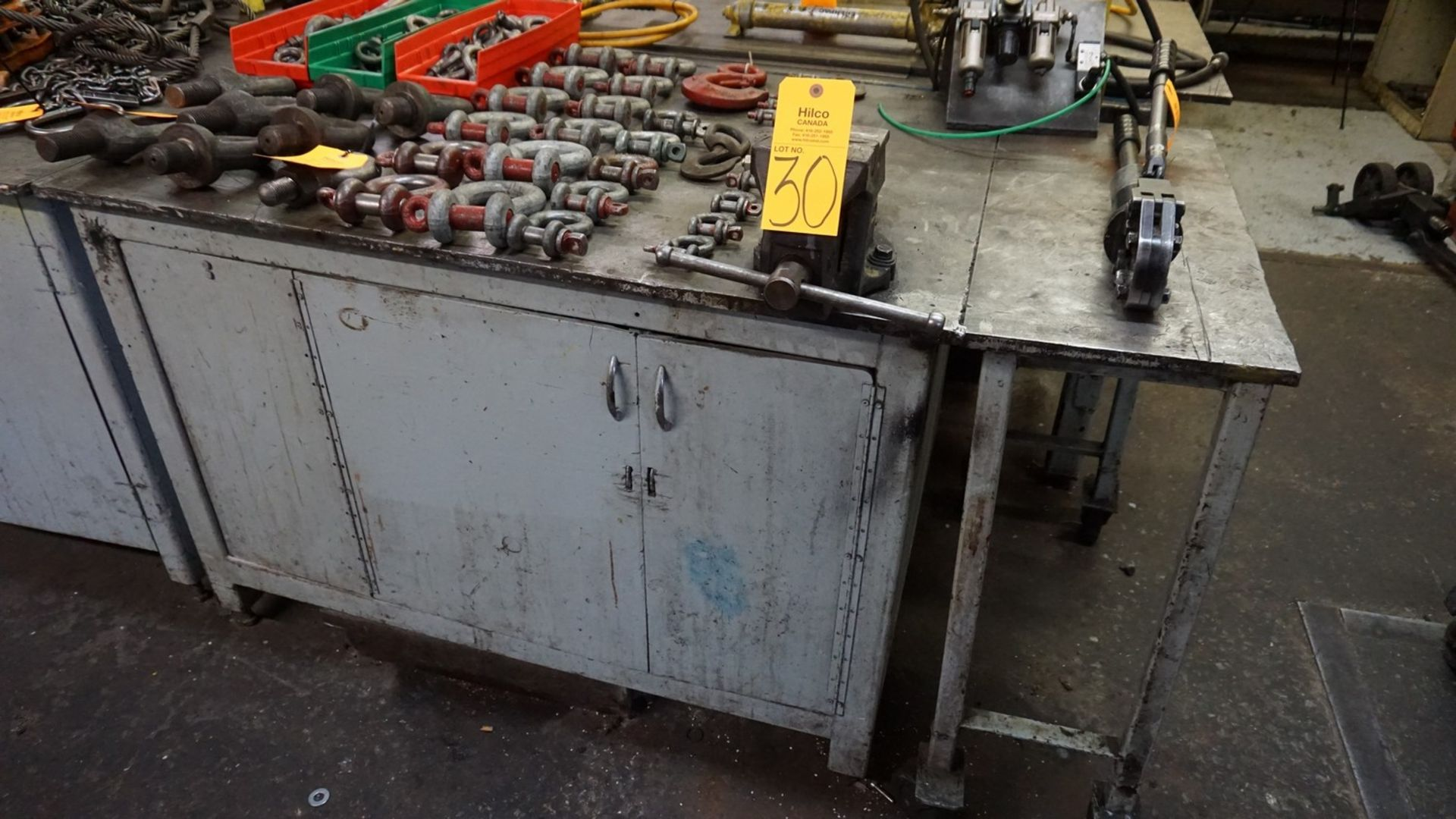 "Lot 30 - 67"" x 38"" Metal Work Bench with Vise (No Contents)"