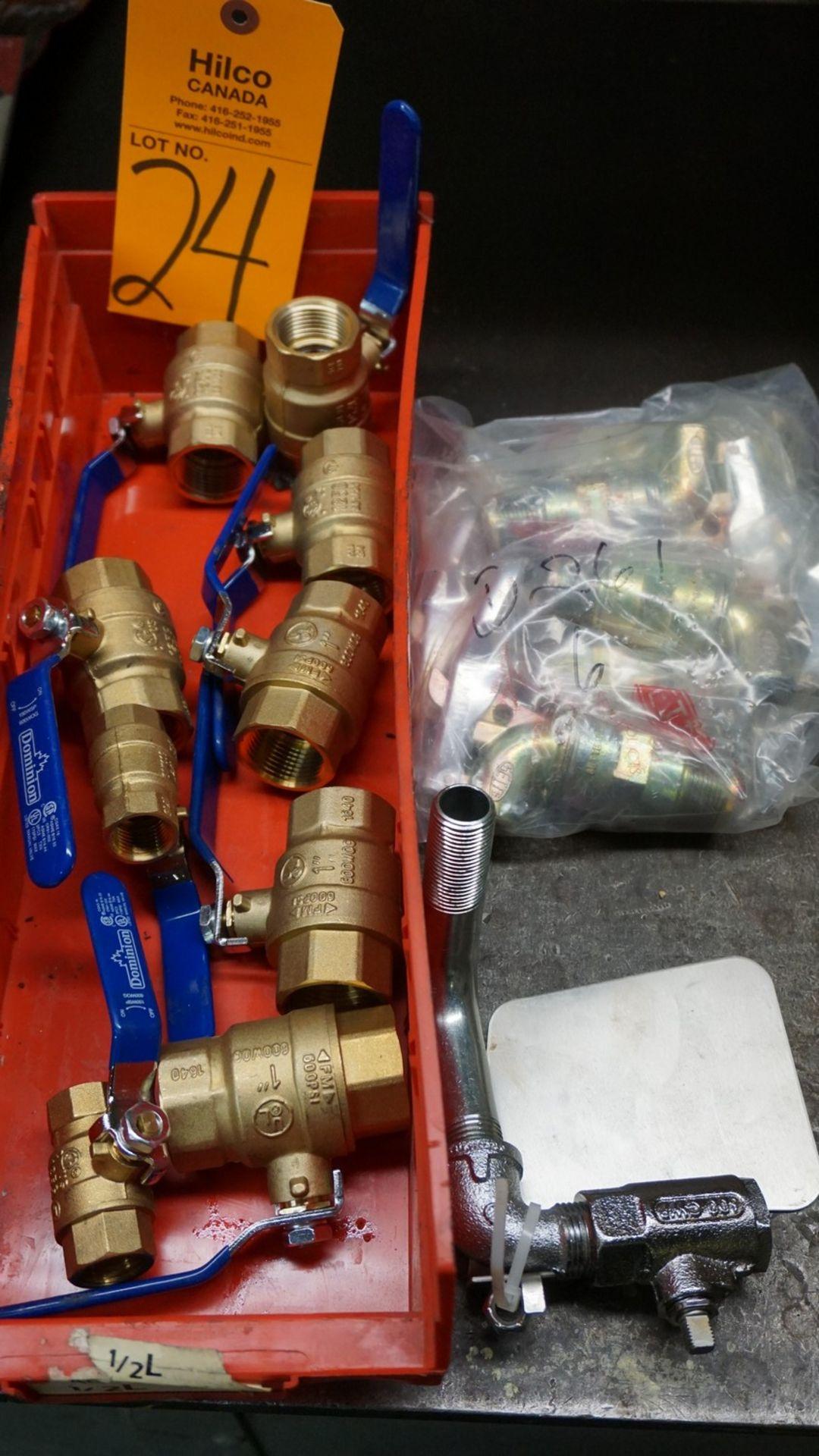 """Lot 24 - Lot of Asst. 1"""", 3/4"""", 1/2"""" Brass Valves, Faucet"""