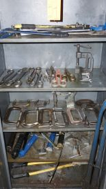 Lot 21 - Cutters, C-Clamps, Vise with Cabinet