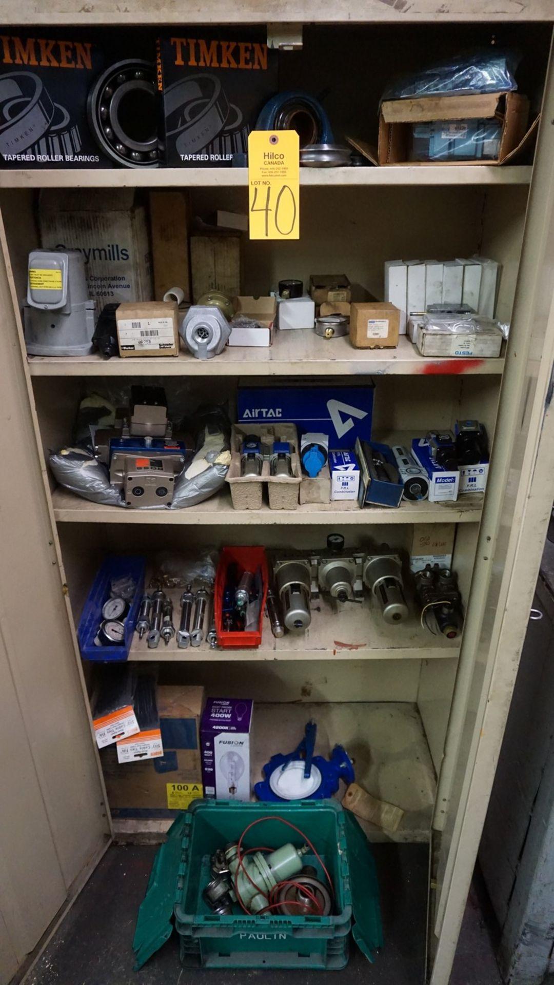 Lot 40 - Beige 2-Door Supply Cabinet with Asst. Air Regulators, Ross Safety Valve, Etc.