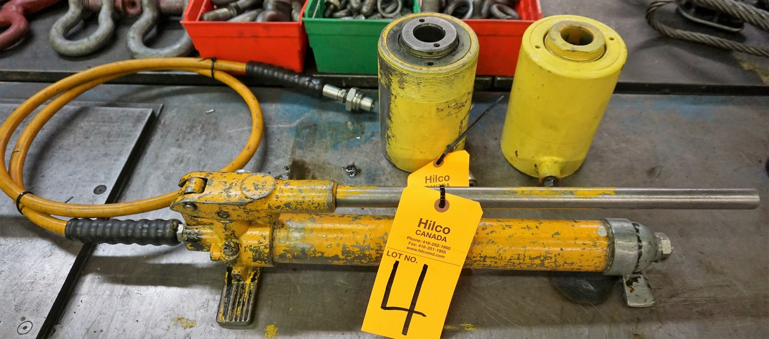 Lot 4 - Enerpac Hydraulic Hand Pump with (2) Rams