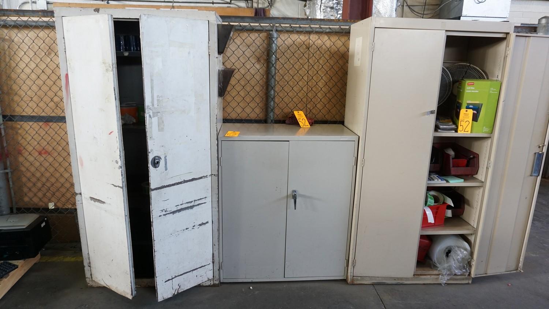 Lot 52 - Asst. Metal Door Storage Cabinets with Contents