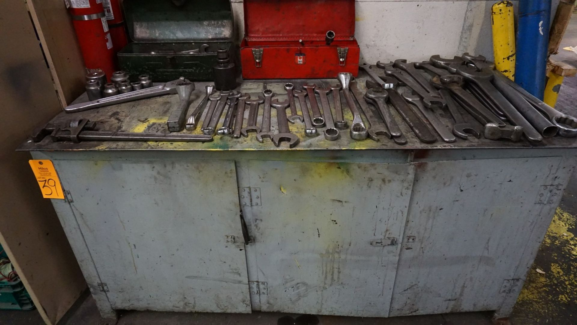 """Lot 39 - 72"""" x 34"""" Metal Work Bench with Contents"""