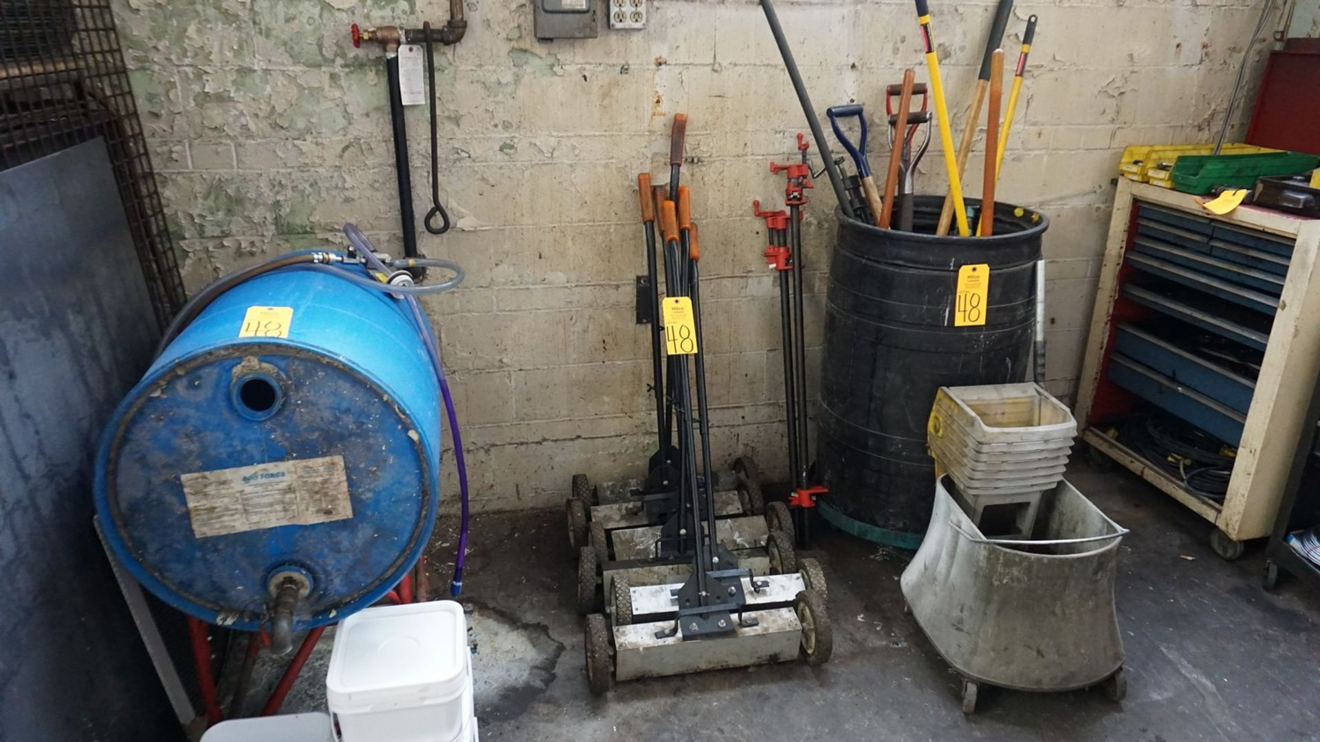 Lot 48 - Lot of Asst. Bar Clamps, Brooms, Shovels, Magnets