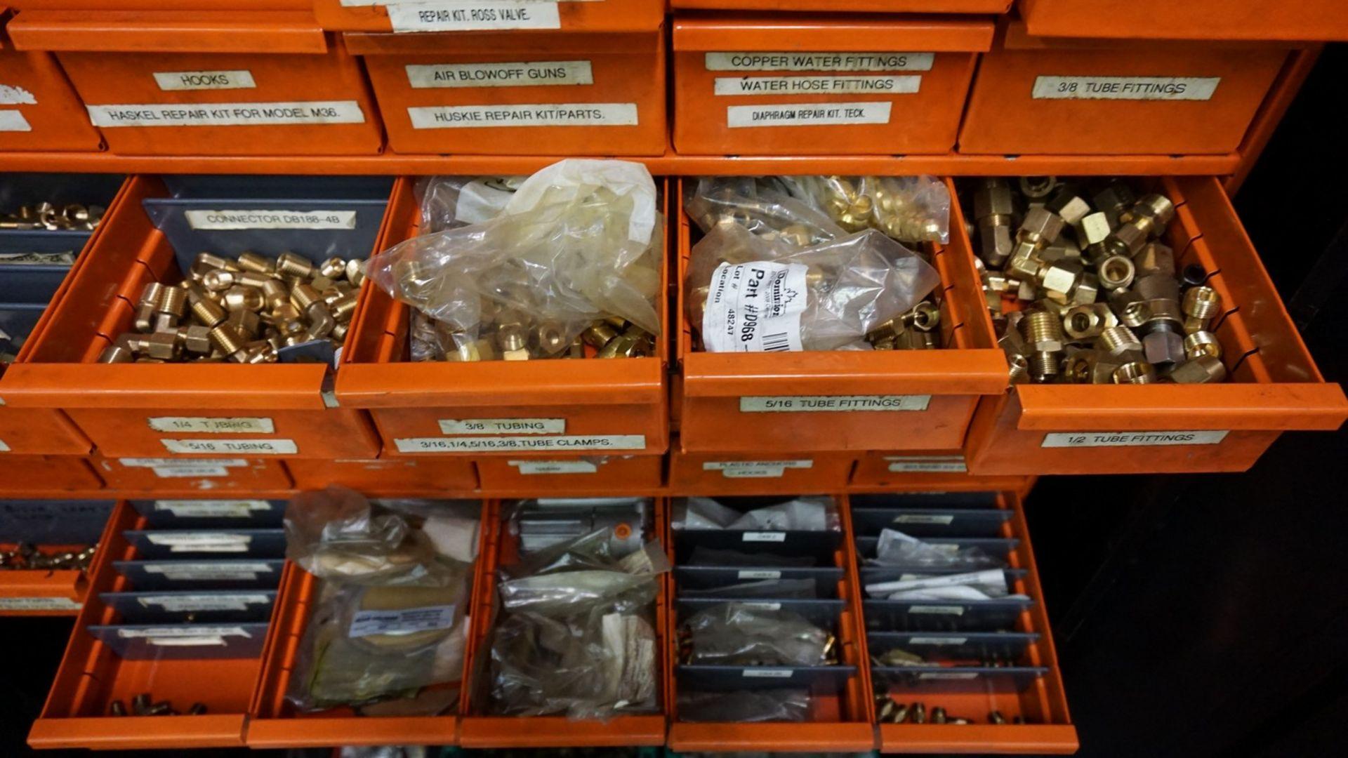 Lot 35 - Asst. Parts Bin with Contents & 2-Door Supply Cabinet