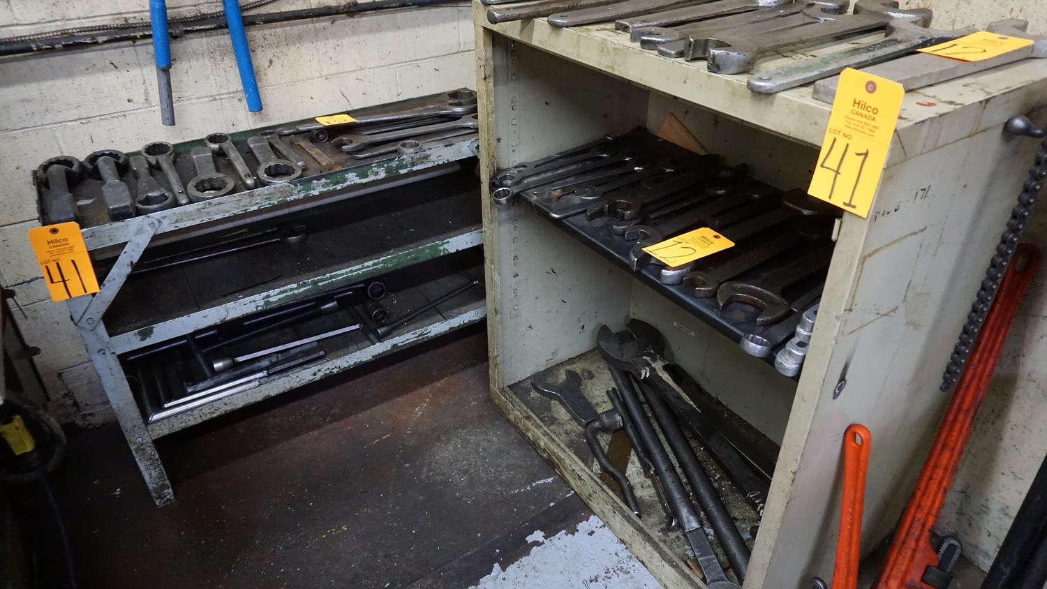 Lot 41 - Metal Shelving Units with Shipping Desk & Locker Door