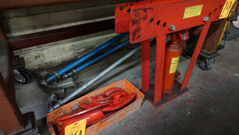 Lot 29 - General 12-Ton Hydraulic Pipe Bender with (3) Manual Benders, Heavy Gauge Steel Table