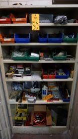 Lot 50 - Metal 2-Door Storage Cabinet with Contents