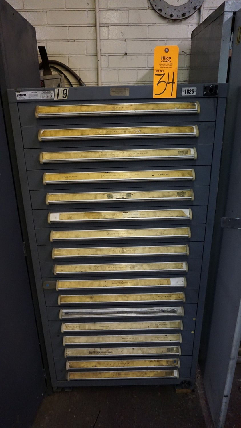 Lot 34 - Stanley Vidmar 17-Drawer Parts Cabinet with Contents