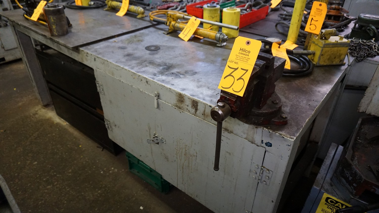"""Lot 33 - 96"""" x 36"""" Metal Work Bench with Vise (No Contents)"""