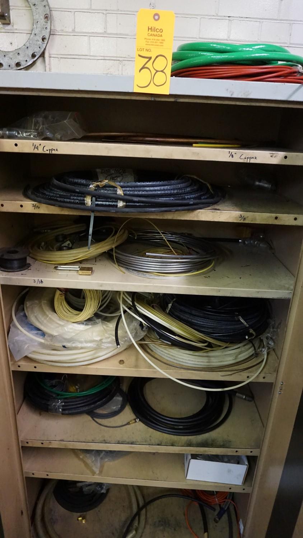 Lot 38 - Grey 2-Door Storage Cabinet with Asst. Tubing, Hose, Etc.