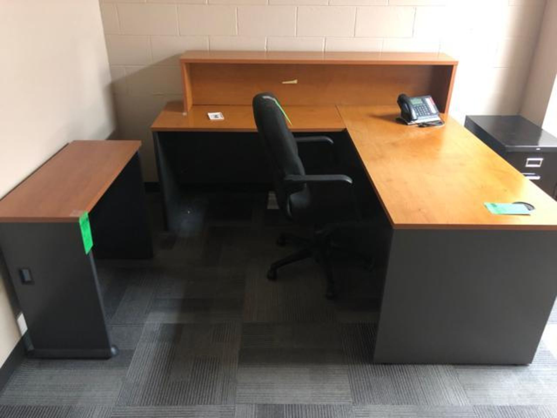 "Lot 1033 - Office Furniture, To include: (1) Wood Desk 71"" x 78""x 30""; (1) Side Desk 36"" x 15""x 30; (1) Unline"