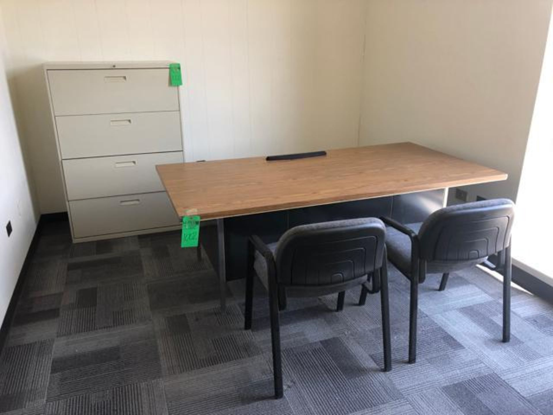 """Lot 1002 - Office Furniture,To include: (1) 2 Drawer Wood Desk with Metal Base 29"""" x 78""""x 29""""; (1) 4 Drawer Met"""