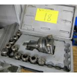 LOT OF TAPER 40 TOOL HOLDER CUTTING ATTACHMENT AND COLLETS