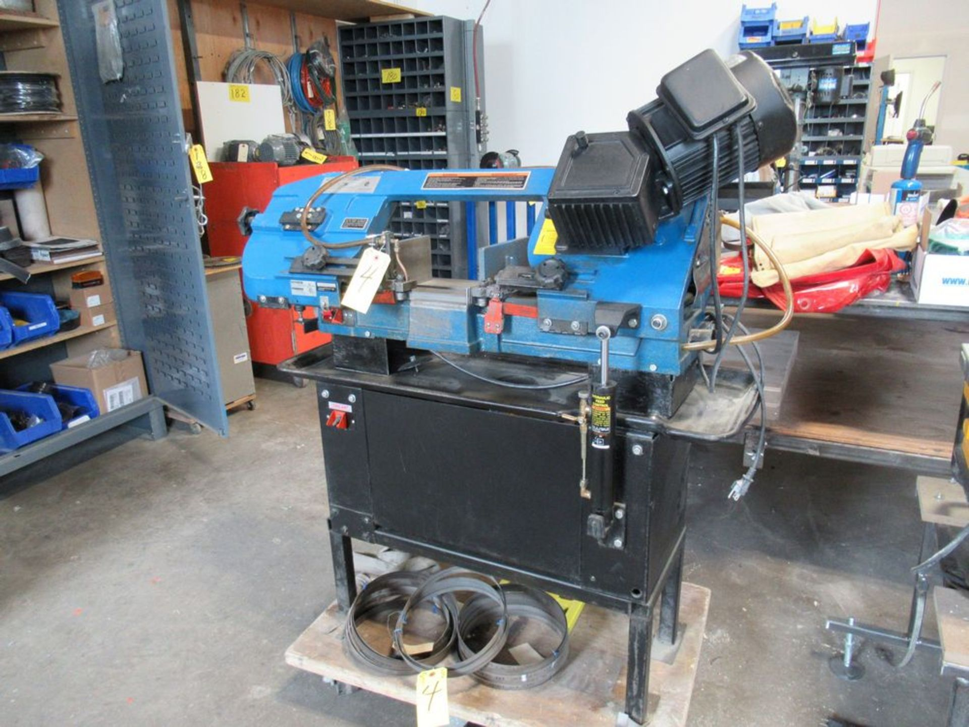 """JET JHVG-712 7"""" X 12"""" 3-SPEED HORIZONTAL BANDSAW W/ SAW BLADES AND ROLLER STAND, S/N 14071991"""