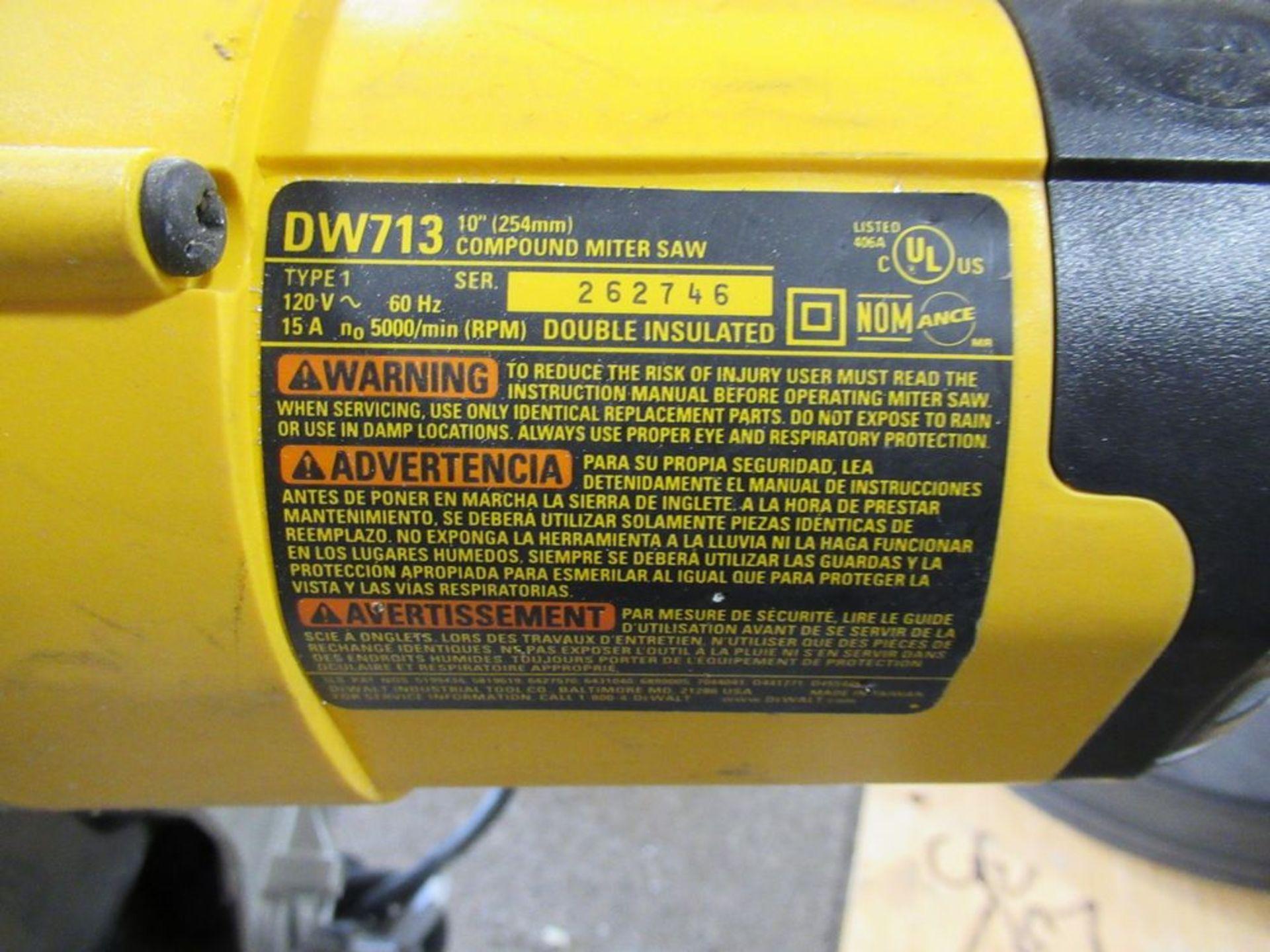 "DEWALT DW-713 10"" COMPOUND MITRE SAW, S/N 262746 - Image 3 of 3"