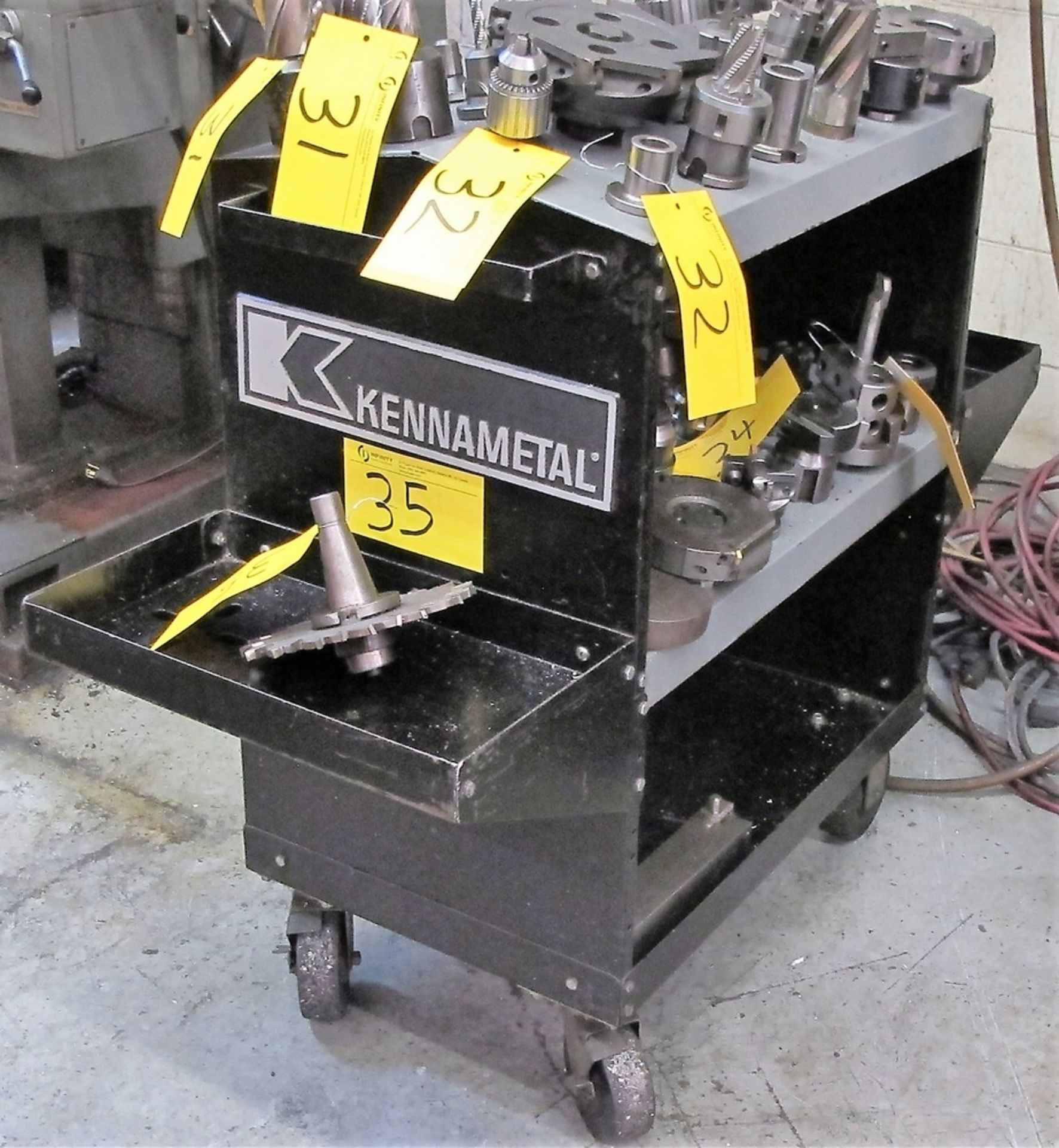 Lot 35 - KENNAMETAL 30 TAPER TOOL HOLDER CART W/ 48 SLOTS & 1 30 TAPER WITH ATTACHMENT
