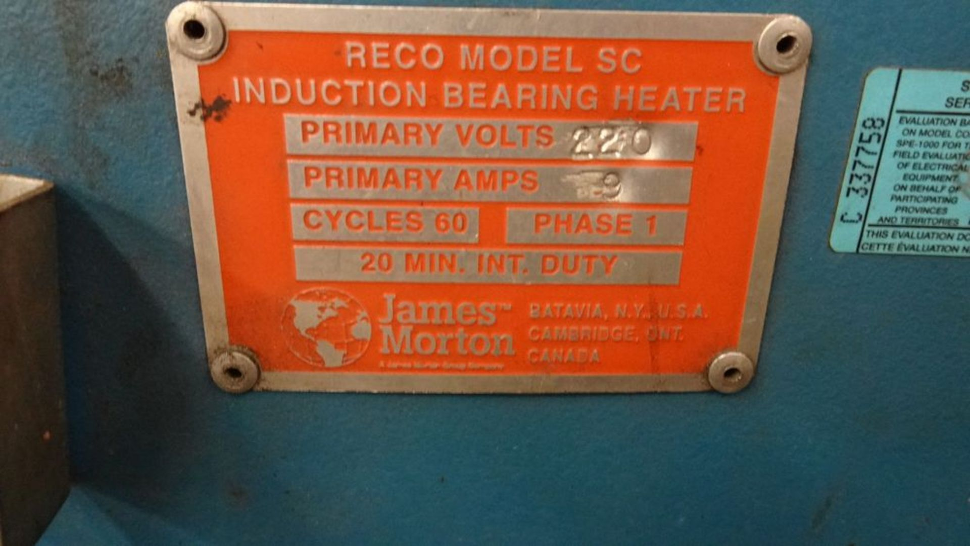 """Lot 17 - RECO SC INDUCTION BEARING HEATER, 220V, 9 AMPS, 3"""" X 4.5"""" OPENING"""
