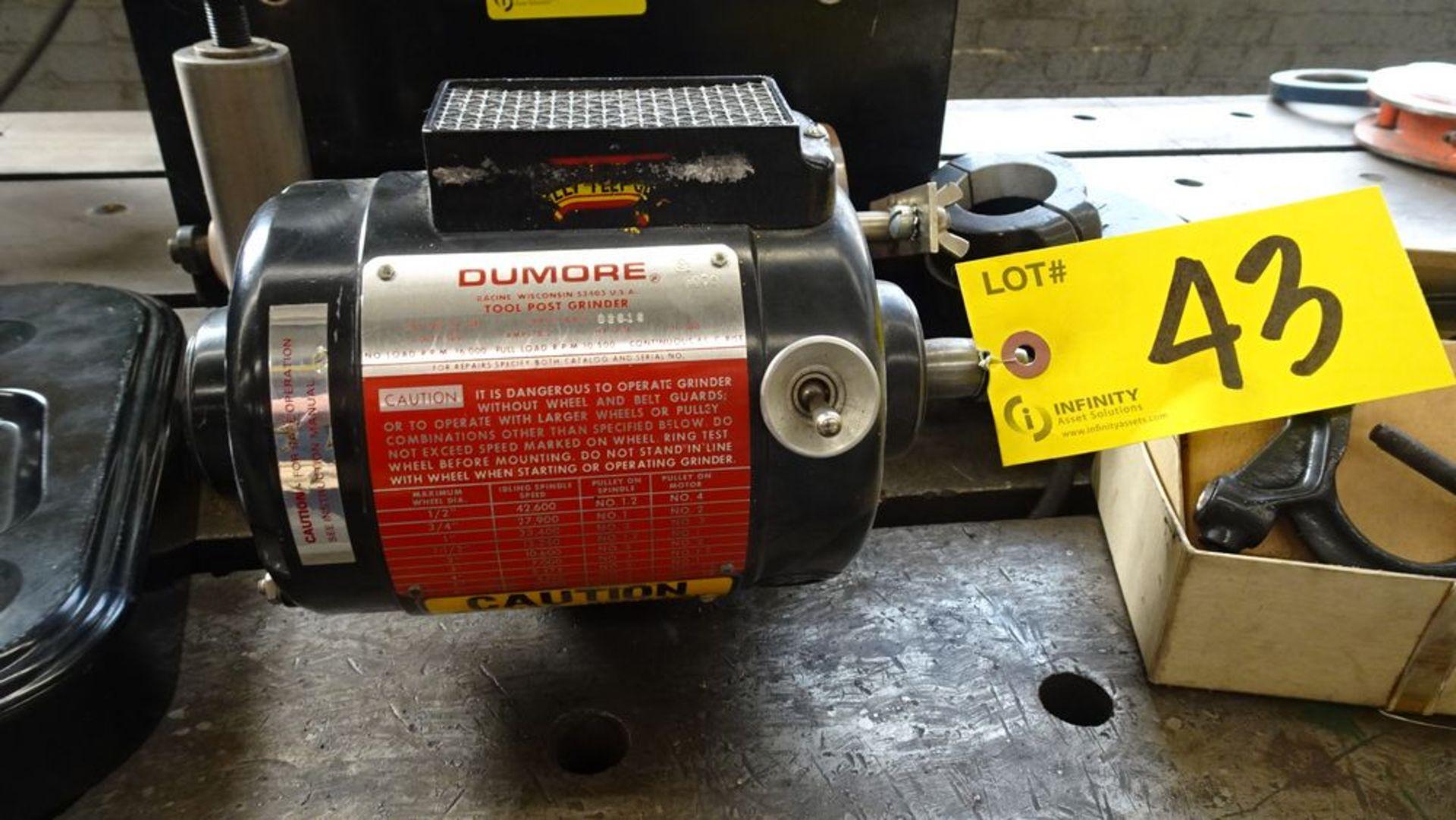 Lot 43 - DUMORE 57-011 TOOL POST GRINDER C/W CASE, S/N 8476-02616