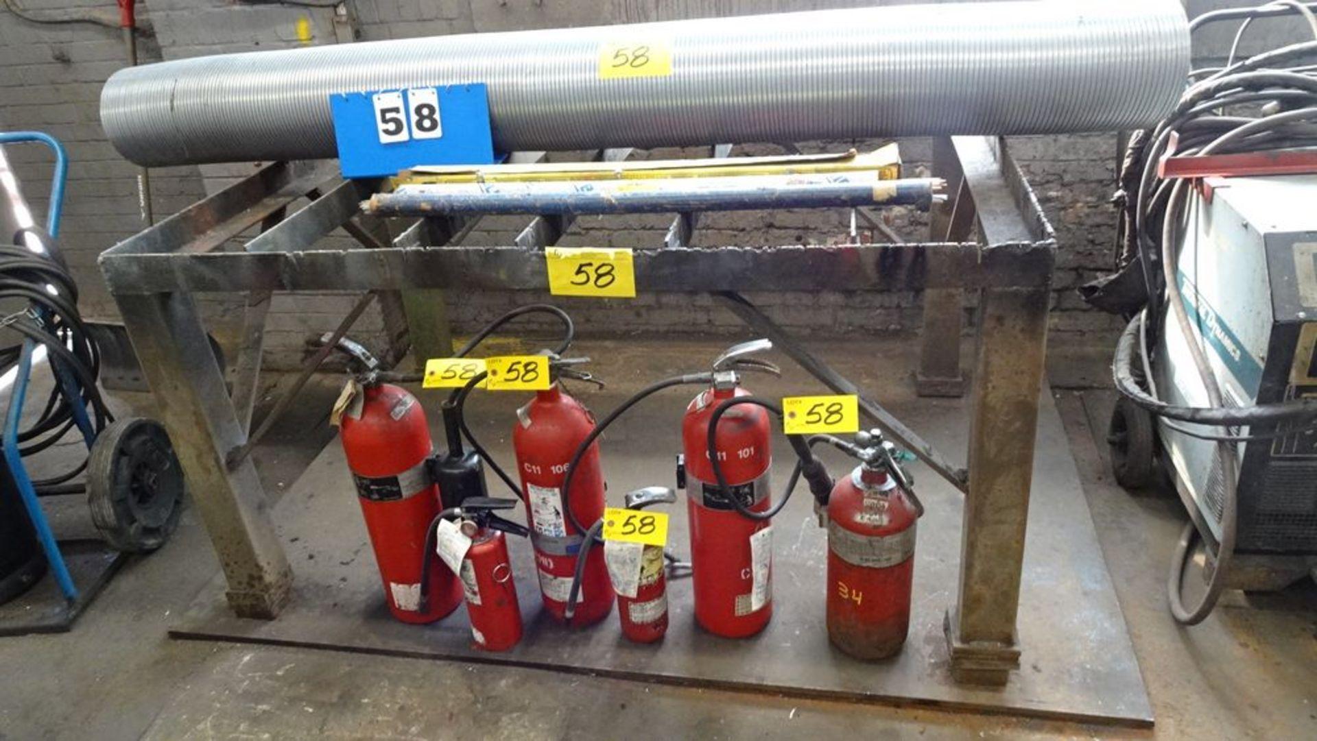 "Lot 58 - 48"" X 68"" STEEL CUTTING TABLE C/W STEEL PLATE BASE, FIRE EXTINGUISHERS, PIPE & WELDING ROD ("