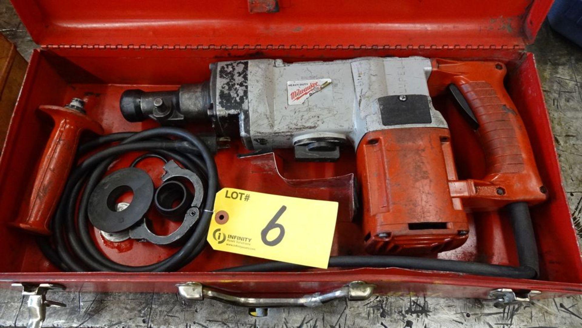 "Lot 6 - MILWAUKEE 1-1/2"" ROTARY HAMMER, 120V, 500 RPM, 4100 BPM, C/W CASE, S/N 688B198150017"