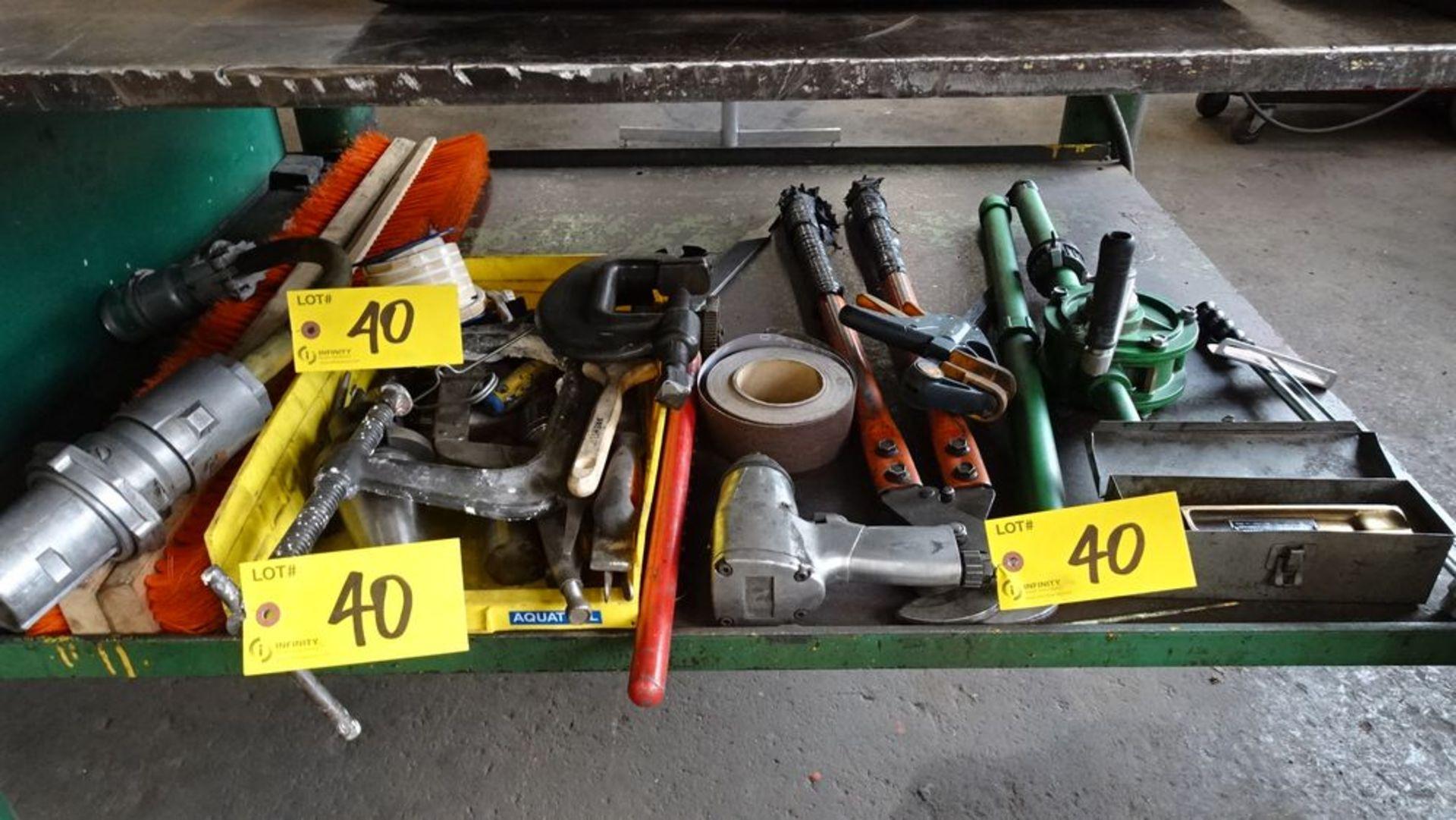 Lot 40 - ASSORTED TOOLS: CLAMPS, IMPACT GUN, CUTTER, HAND PUMP & GAS CUTTER
