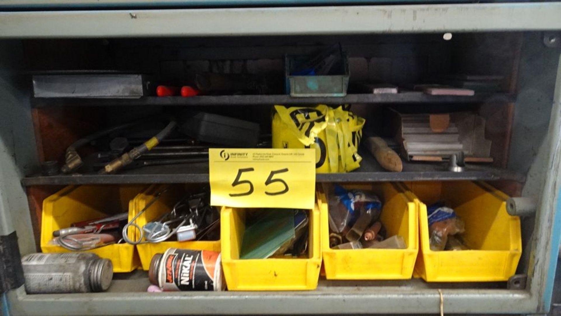 Lot 55 - FIVE DOOR STORAGE CABINET C/W ASSORTED WELDING SUPPLIES (RIGGING FEE $25)